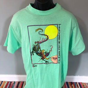 1991 Chinese Dragon Lizard Shirt Rising Sun Art